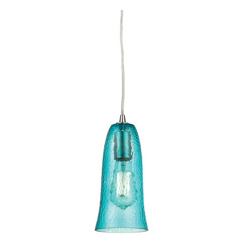 Hammered Glass 1-Light Pendant in Satin Nickel