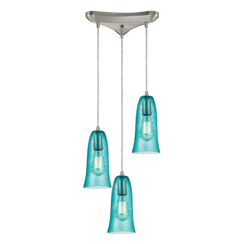 Hammered Glass 3-Light Pendant in Satin Nickel