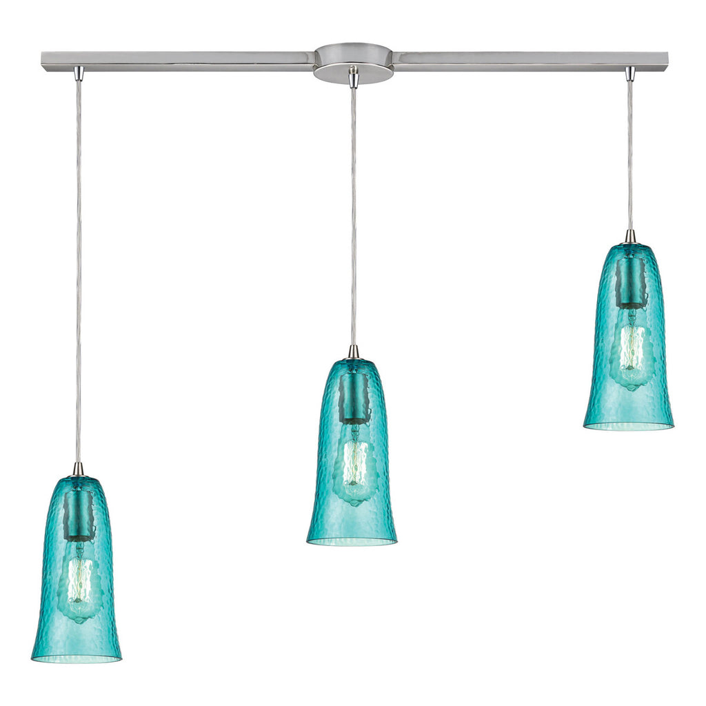 Hammered Glass 3-Light Pendant with Satin Nickel