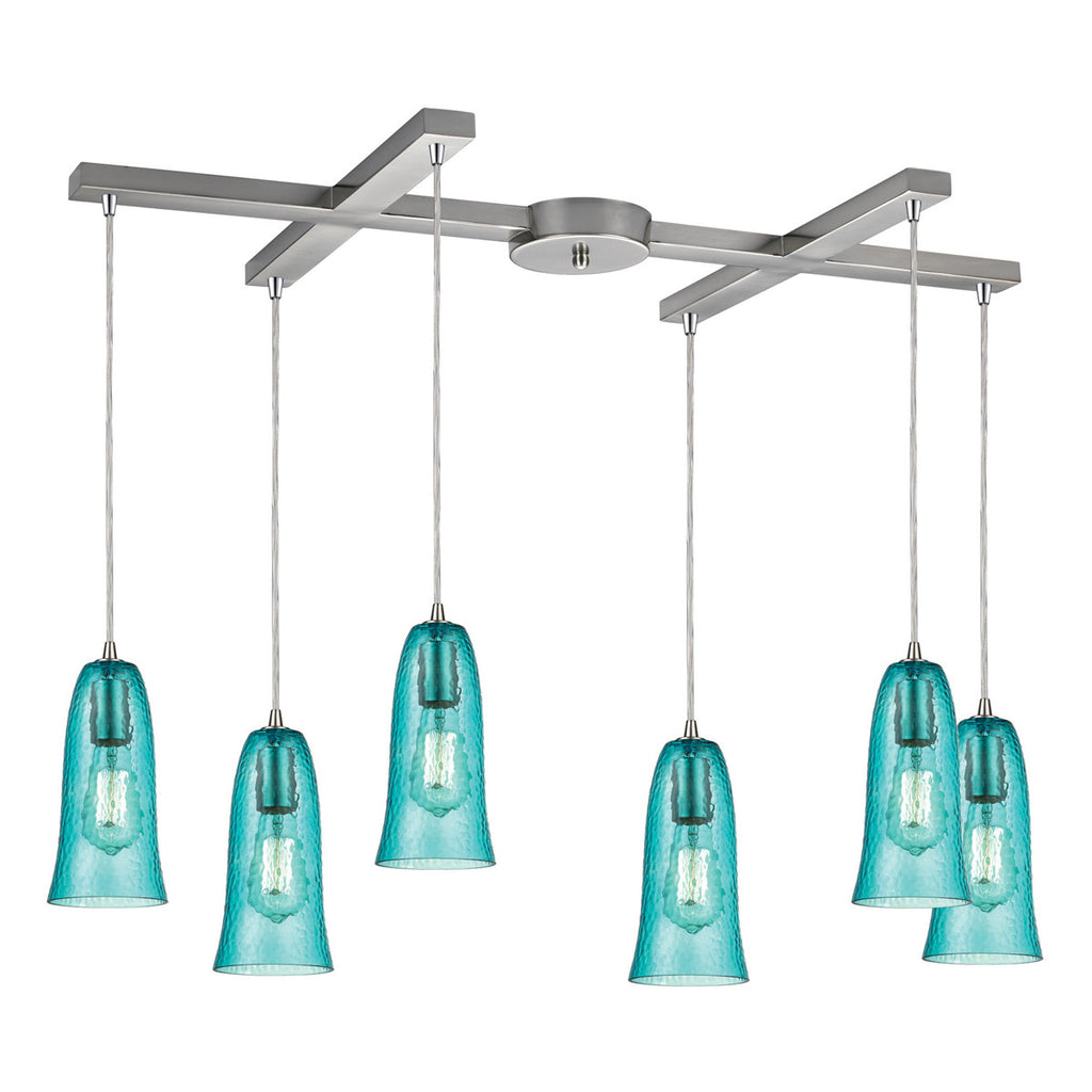 Hammered Glass 6-Light Pendant in Satin Nickel