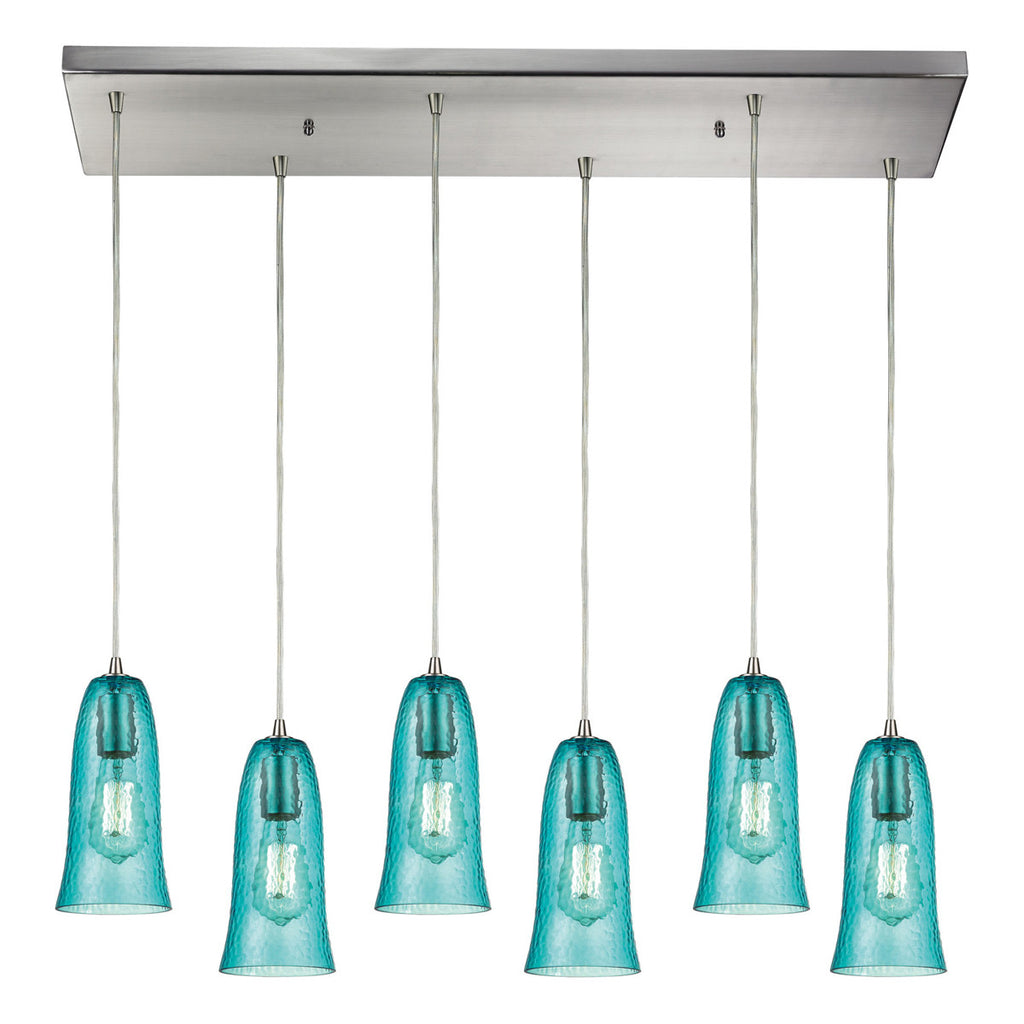 Hammered Glass 6-Light Pendant with Satin Nickel