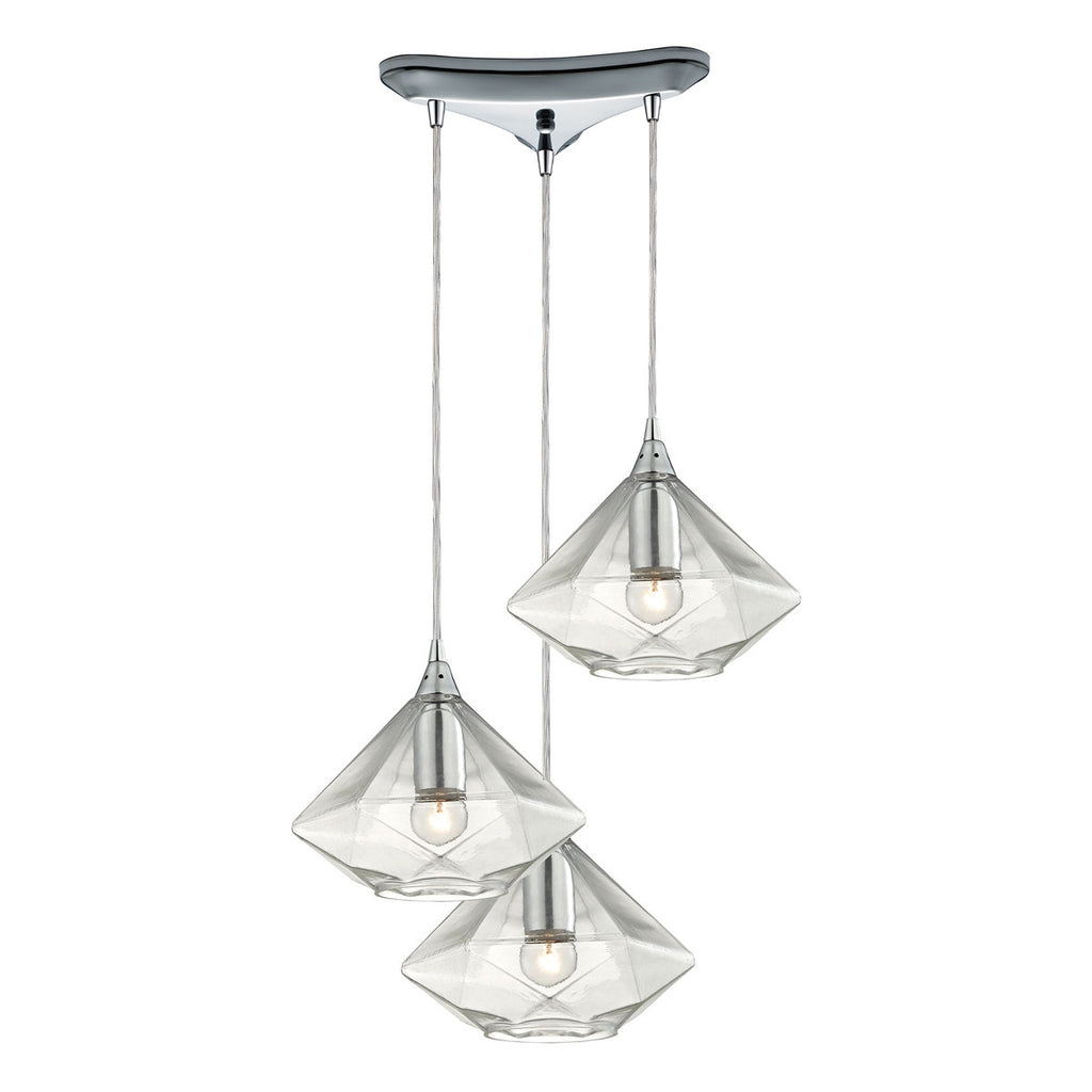 Geometrics 3-Light Pendant in Polished Chrome