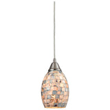 Capri 1-Light Pendant with Satin Nickel and Gray Capiz Shell