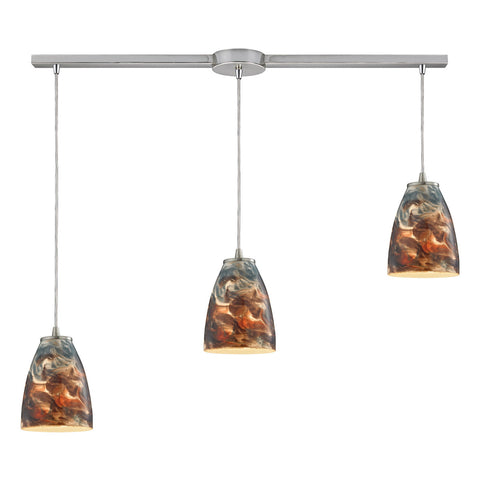 Abstractions 3-Light Pendant with Satin Nickel