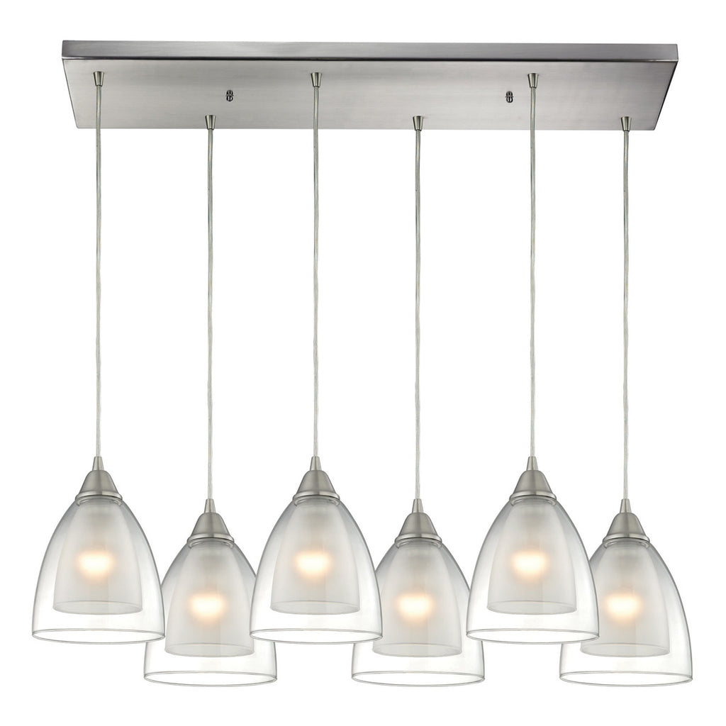 Layers 6-Light Pendant in Satin Nickel