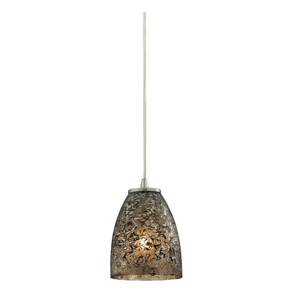 Fissure 1-Light Pendant in Satin Nickel