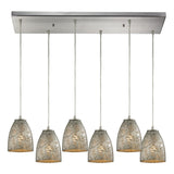 Fissure 6-Light Pendant with Satin Nickel