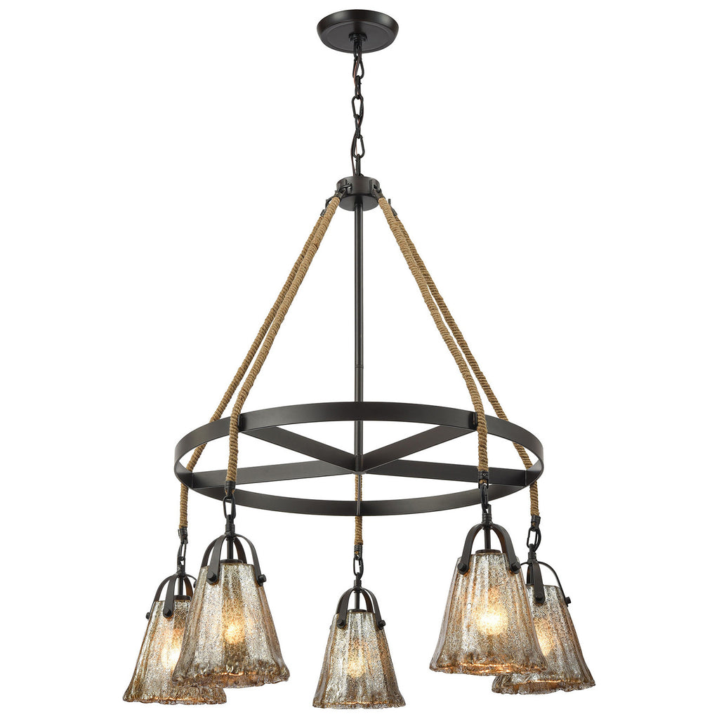Hand Formed Glass 5-Light Chandelier in Oil Rubbed Bronze