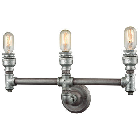 Cast Iron Pipe 3-Light Vanity with Weathered Zinc
