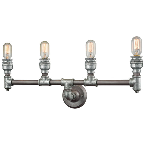 Cast Iron Pipe 4-Light Vanity with Weathered Zinc