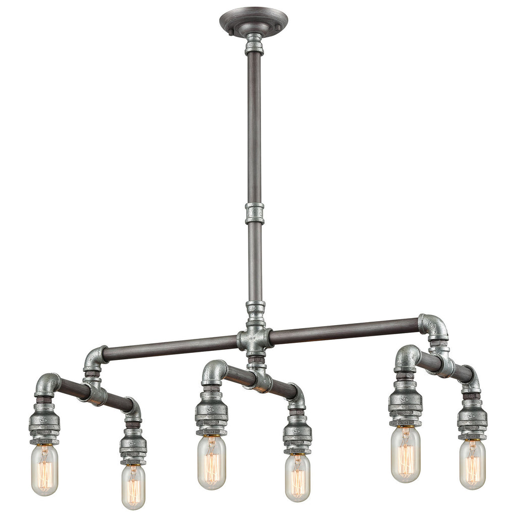 Cast Iron Pipe 6-Light Weathered Zinc Chandelier