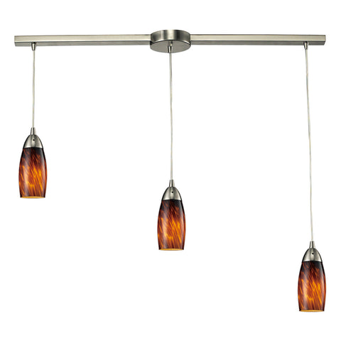Milan Linear 3-Light Satin Nickel Pendant