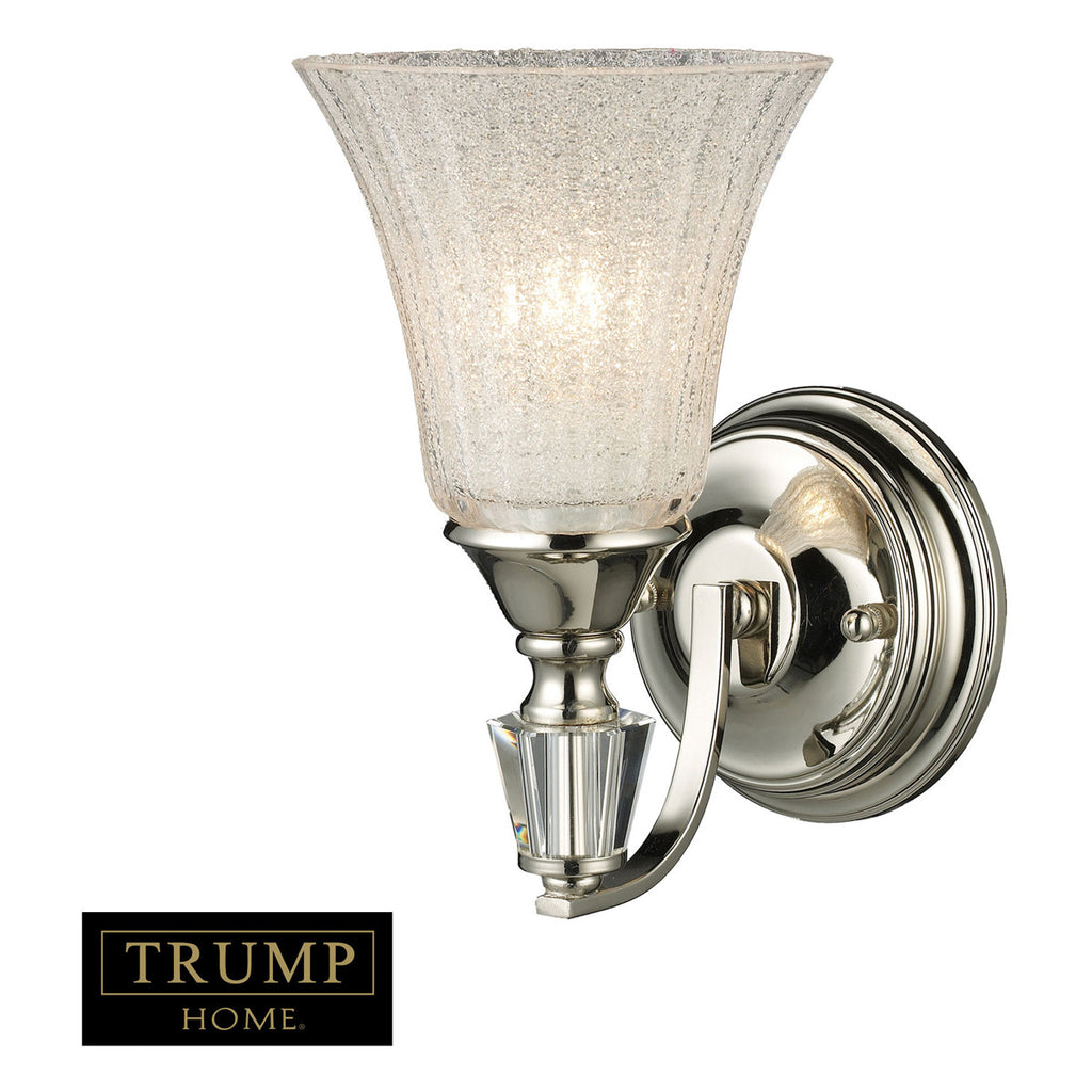 Lincoln Square 1-Light Sconce in Polished Nickel with Clear Crystalline Glass