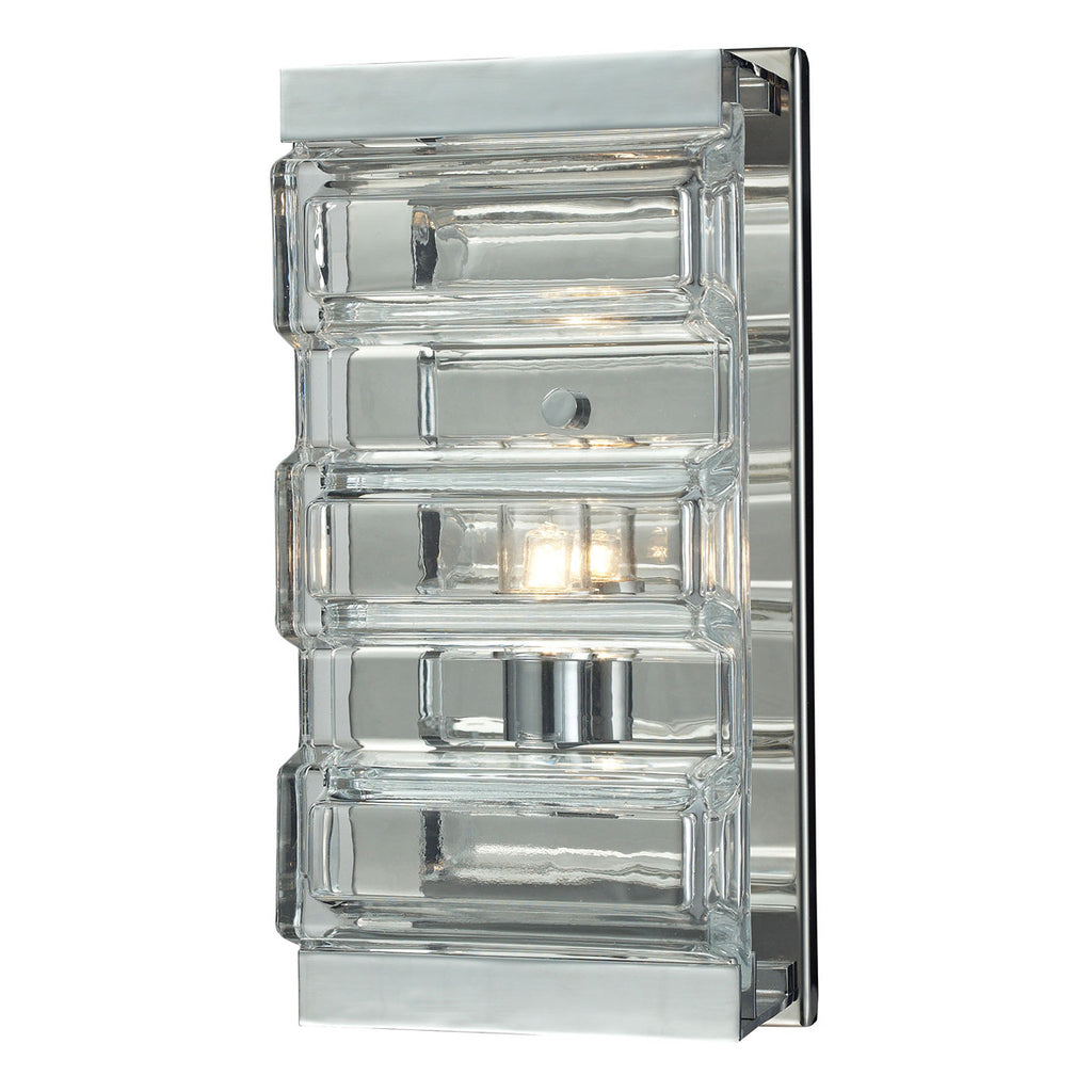 Corrugated Glass 1-Light Vanity in Polished Chrome