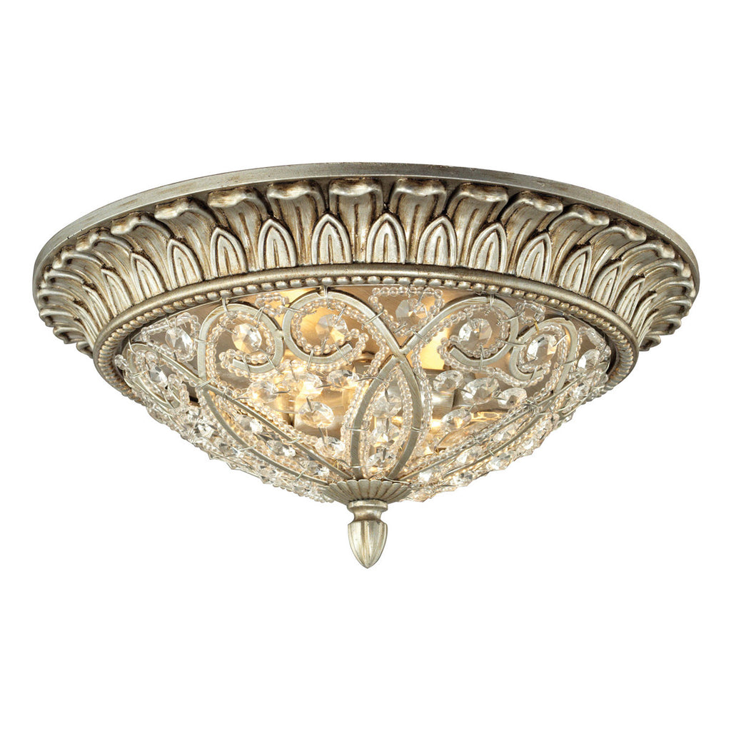Andalusia 2-Light Flush Mount in Aged Silver