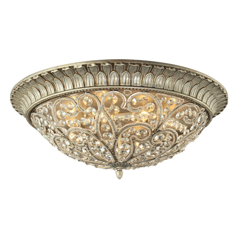 Andalusia 8-Light Flush Mount in Aged Silver
