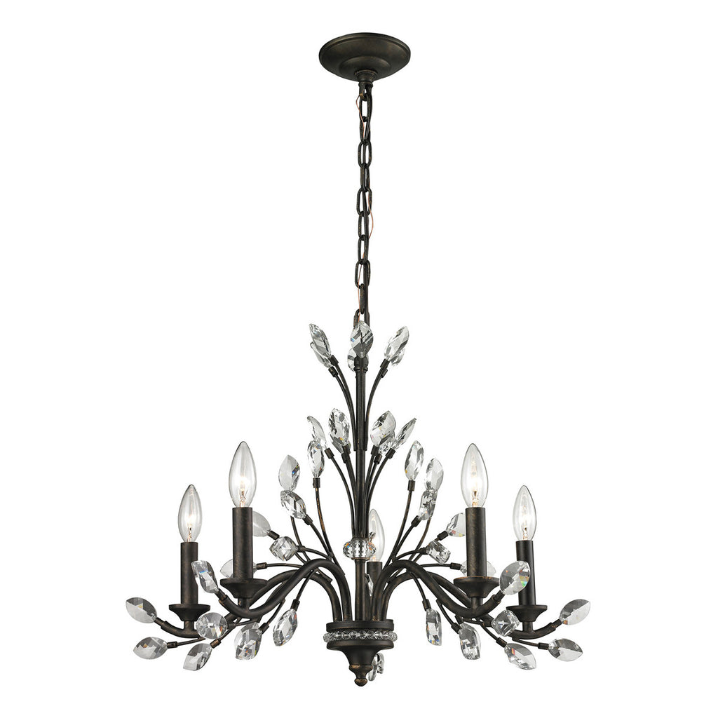 Crystal Branches 5-Light Chandelier in Burnt Bronze