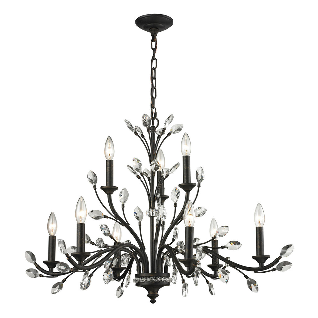 Crystal Branches 9-Light Chandelier in Burnt Bronze