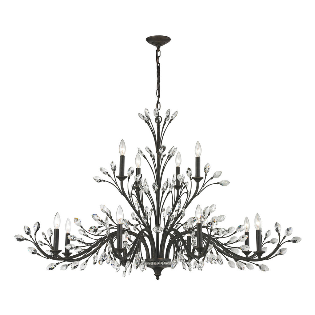 Crystal Branches 12-Light Chandelier in Burnt Bronze