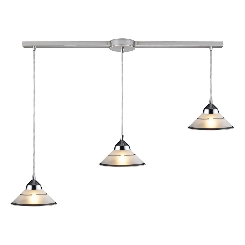 Refraction Linear 3-Light Polished Chrome Pendant