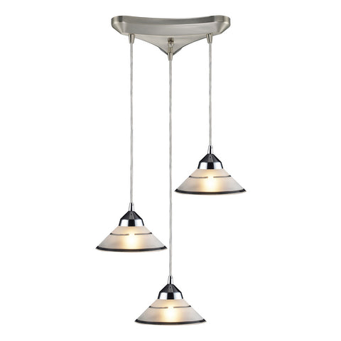 Refraction 3-Light Polished Chrome Pendant