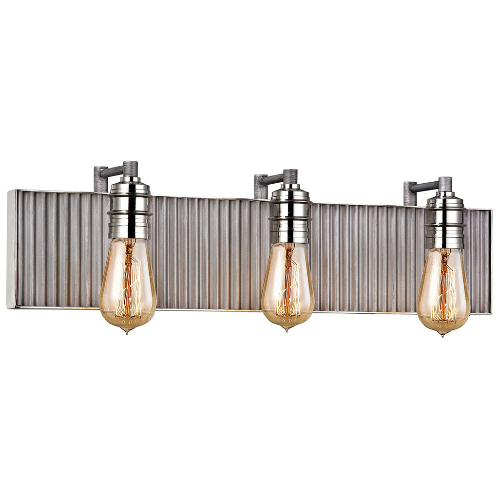 Corrugated Steel 3-Light Vanity with Weathered Zinc and Polished Nickel