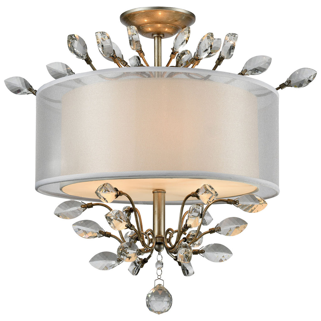 Asbury 3-Light Semi Flush with Aged Silver