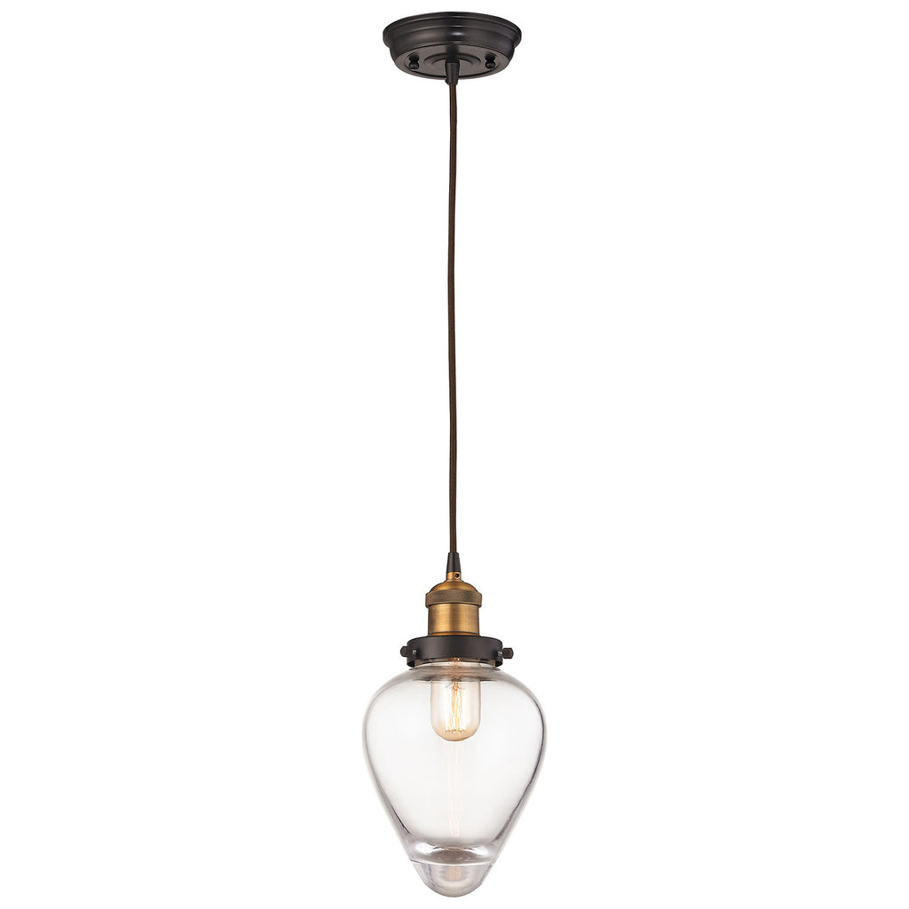 Bartram 1-Light Pendant with Oil Rubbed Bronze and Antique Brass