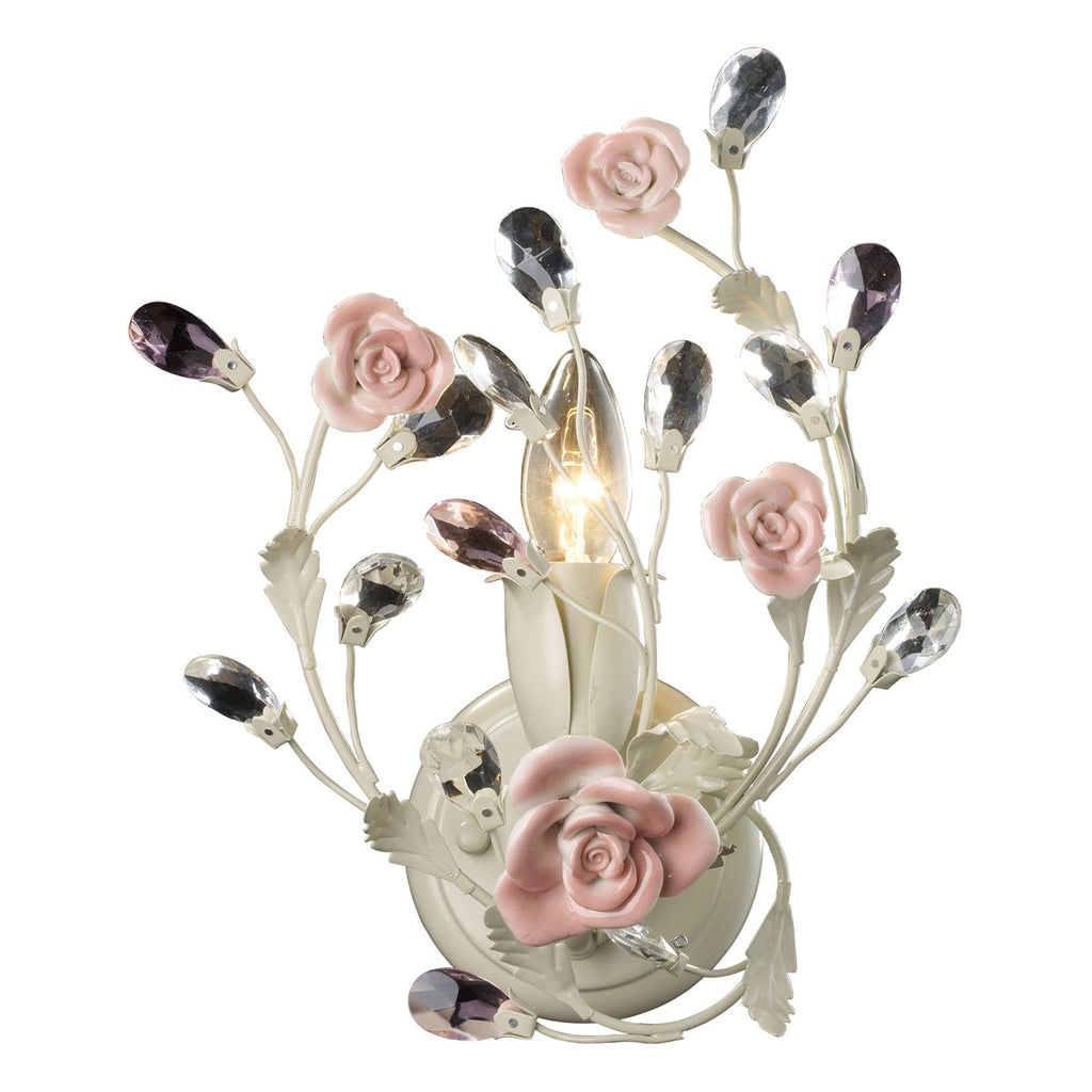Heritage 1-Light Sconce in Cream and Porcelain Roses
