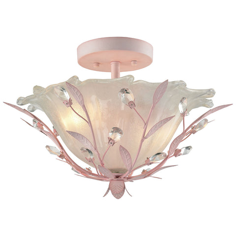 Circeo 2-Light Semi Flush with Light Pink