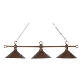 Designer Classics 3-Light Hand Hammered Iron Shades Billiard/Island