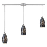 Galaxy Linear 3-Light Satin Nickel Pendant