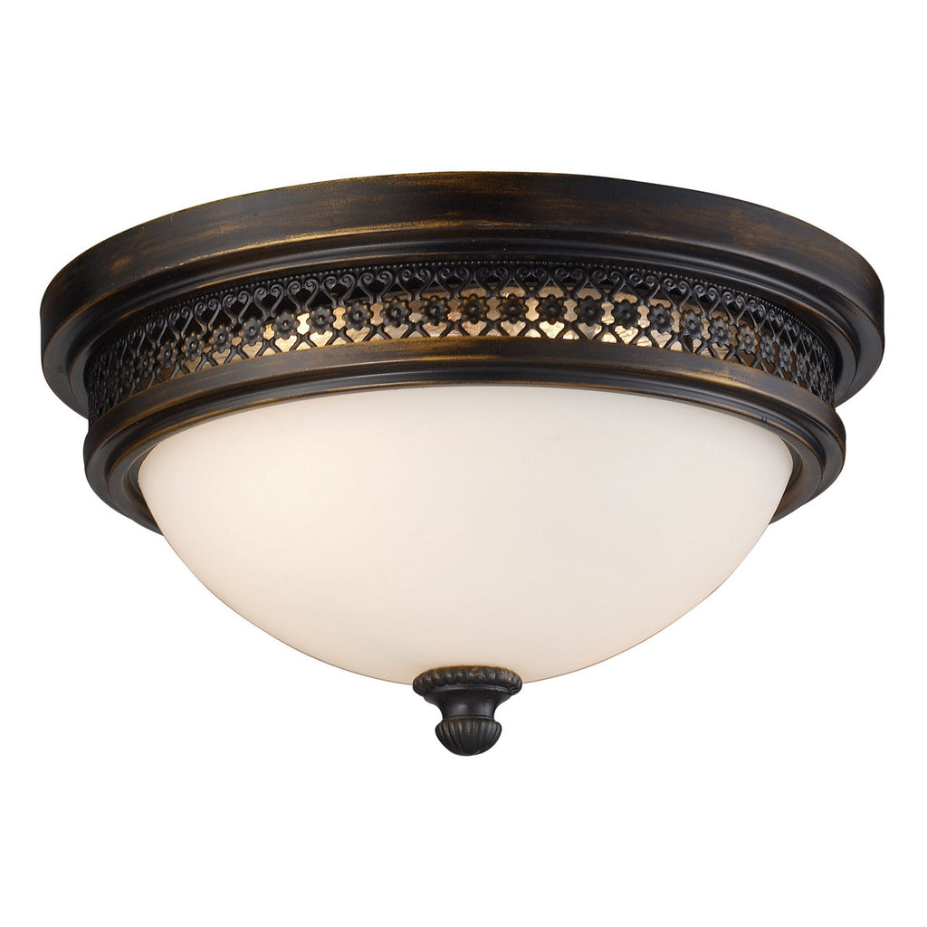 Flush Mount 2-Light Deep Rust Flush Mount