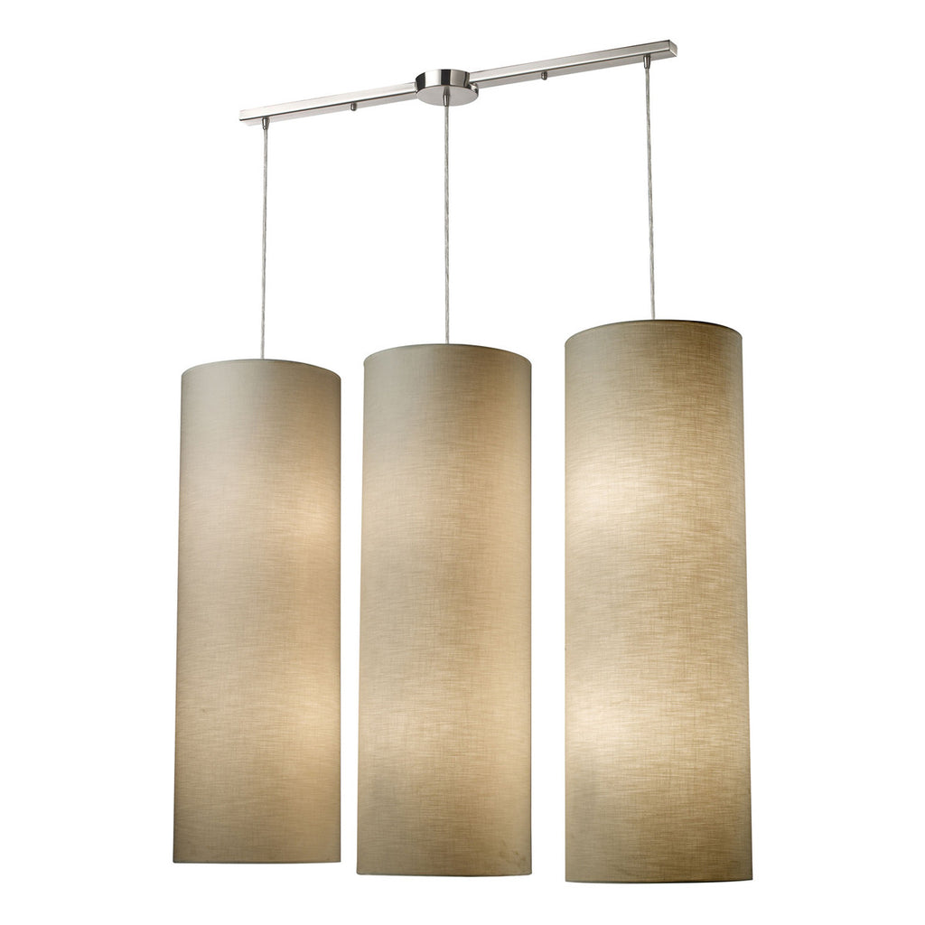 Fabric Cylinder Linear 12-Light Satin Nickel Pendant