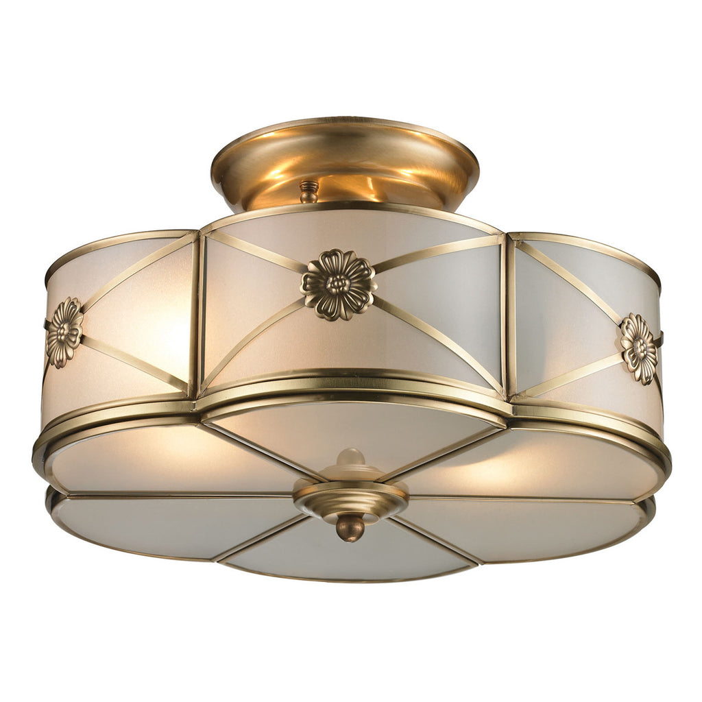 Preston 2-Light Semi Flush in Brushed Brass