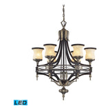 Georgian Court 6-Light Antique Bronze and Dark Umber Pendant
