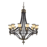 Georgian Court 12-Light Antique Bronze and Dark Umber Chandelier