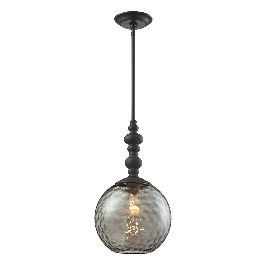 Watersphere 1-Light Pendant in Oil Rubbed Bronze and Smoke Glass