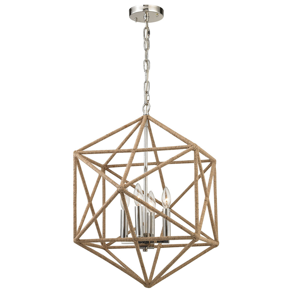 Exitor 4-Light Chandelier in Polished Nickel