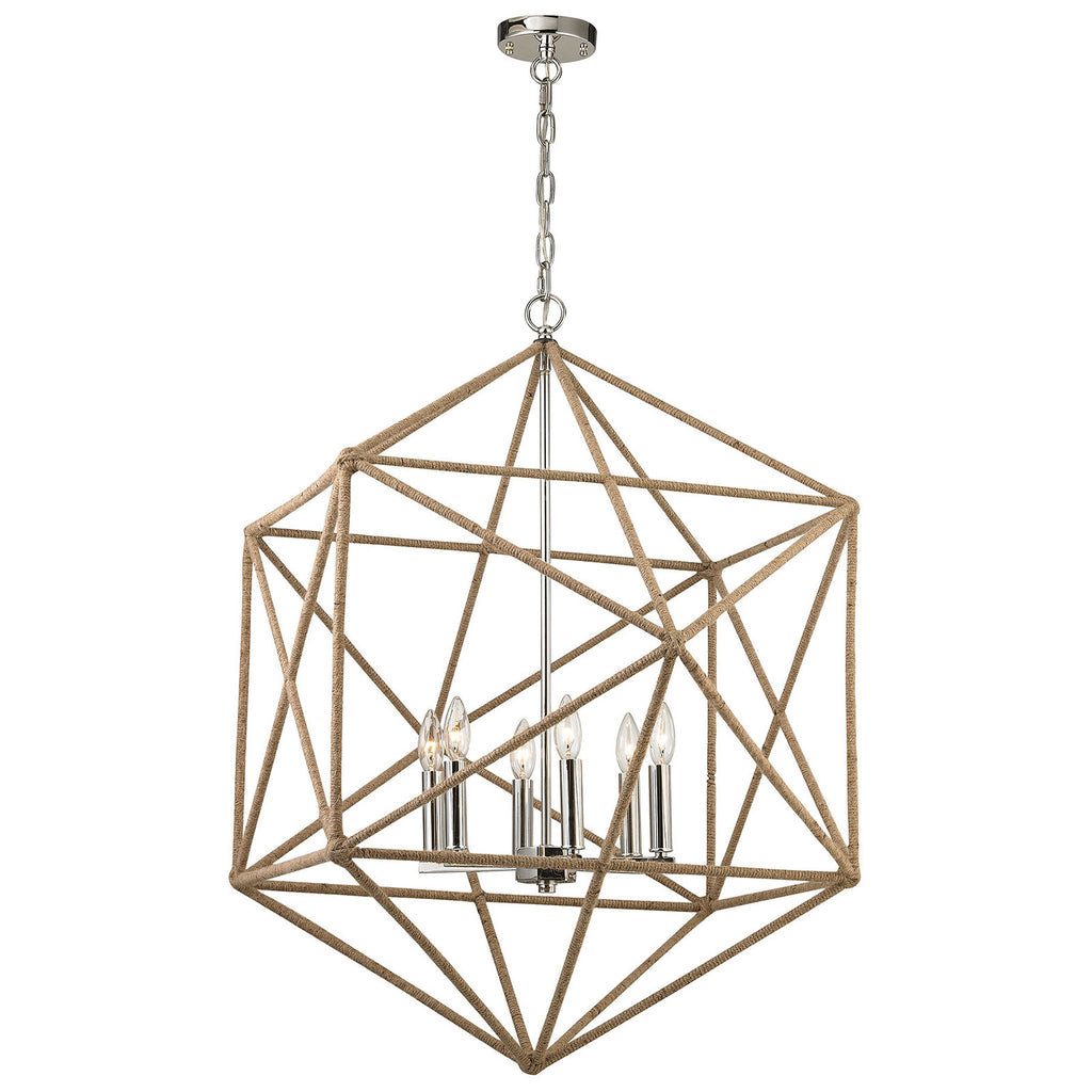 Exitor 6-Light Chandelier in Polished Nickel