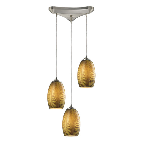 Tidewaters 3 Pendant-Light with Satin Nickel