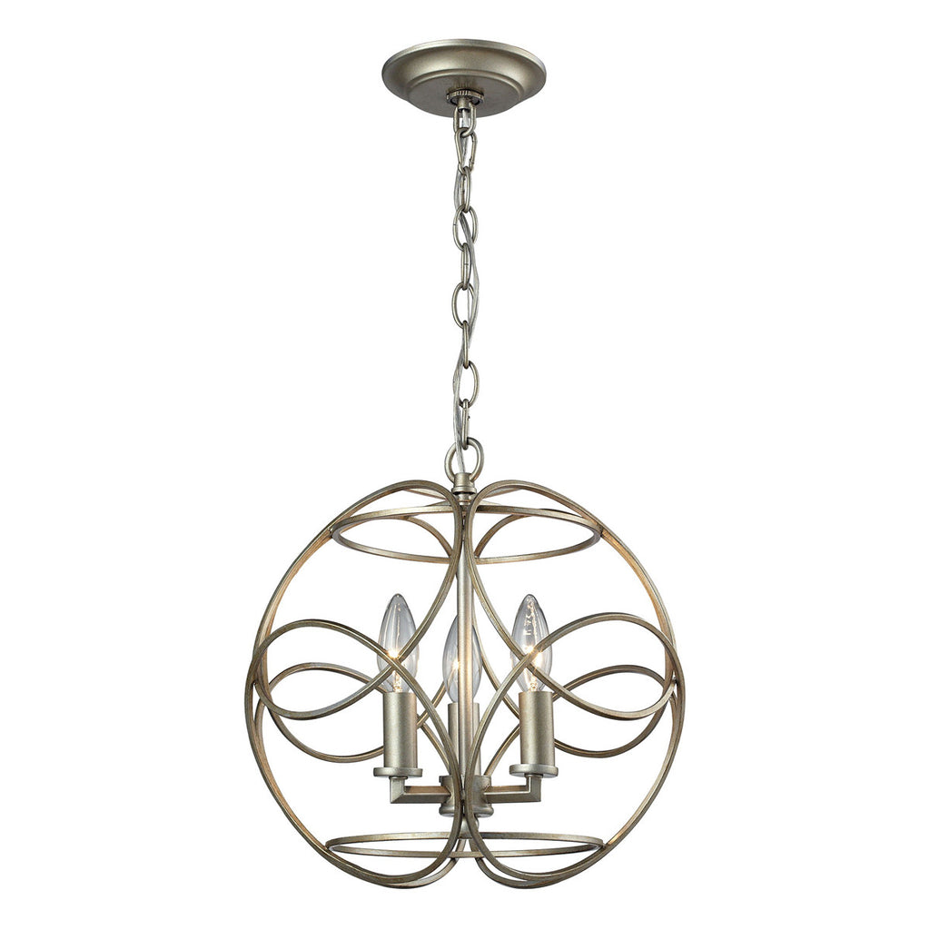 Chandette 3-Light Pendant in Aged Silver