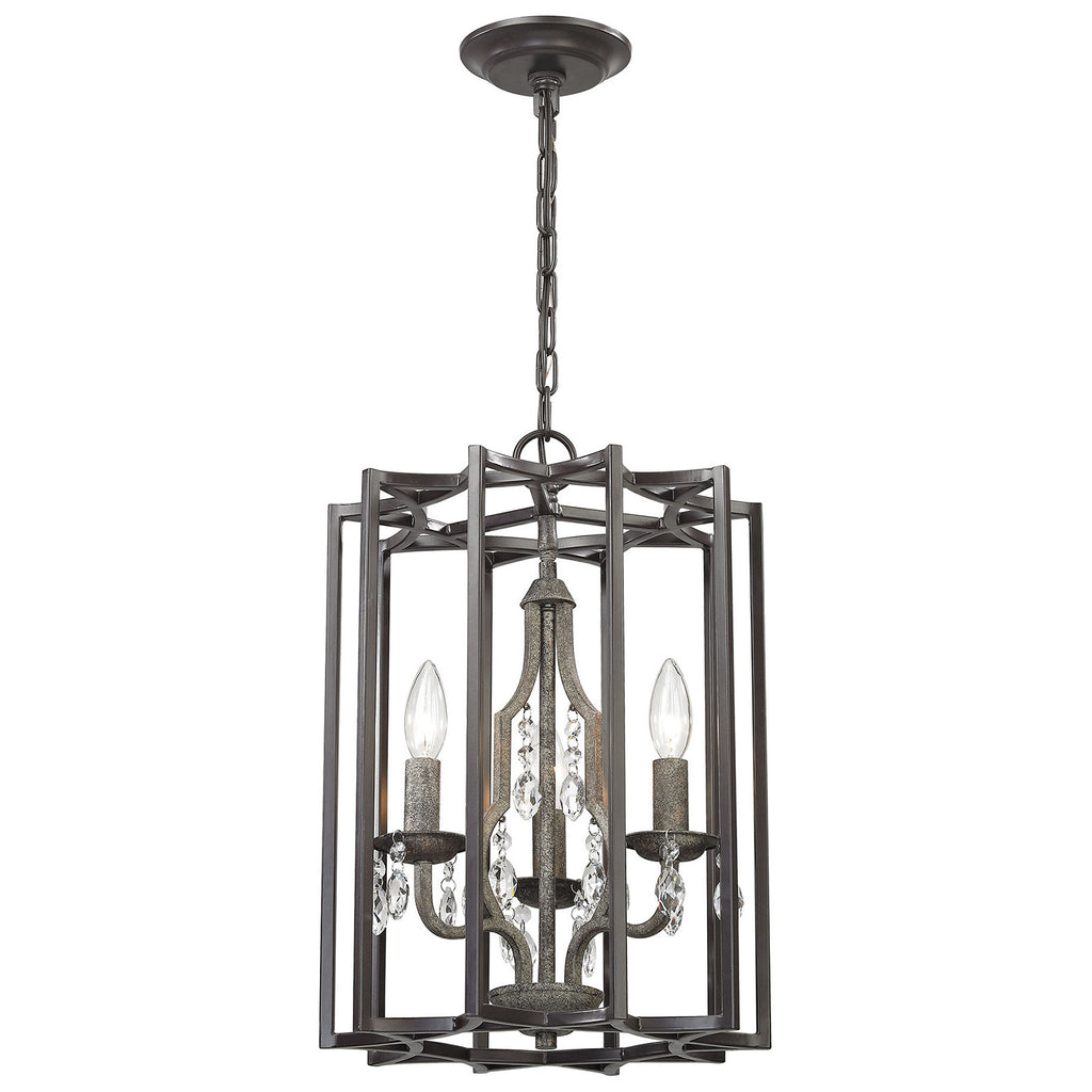 Belgique 3-Light Chandelier with Oil Rubbed Bronze and Malted Rust