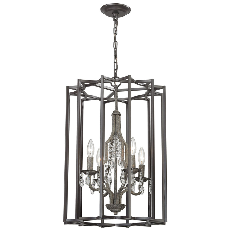 Belgique 4-Light Chandelier with Oil Rubbed Bronze and Malted Rust