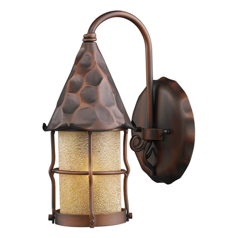 Rustica 1-Light Amber Scavo Glass Outdoor Sconce