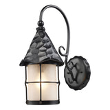 Rustica 1-Light Amber Scavo Glass Outdoor Pendant