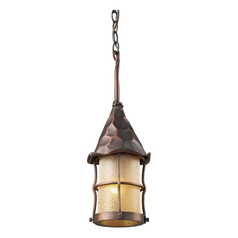 388-AC/BK Rustica 1-Light Amber Scavo Glass Outdoor Pendant