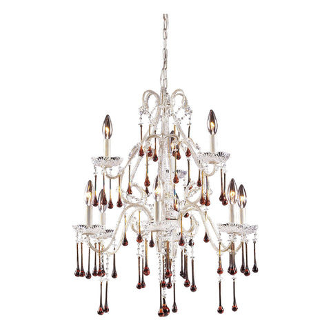 Opulence 9-Light Antique White Chandelier