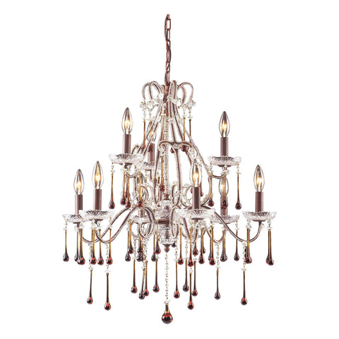 Opulence 9-Light Rust Chandelier