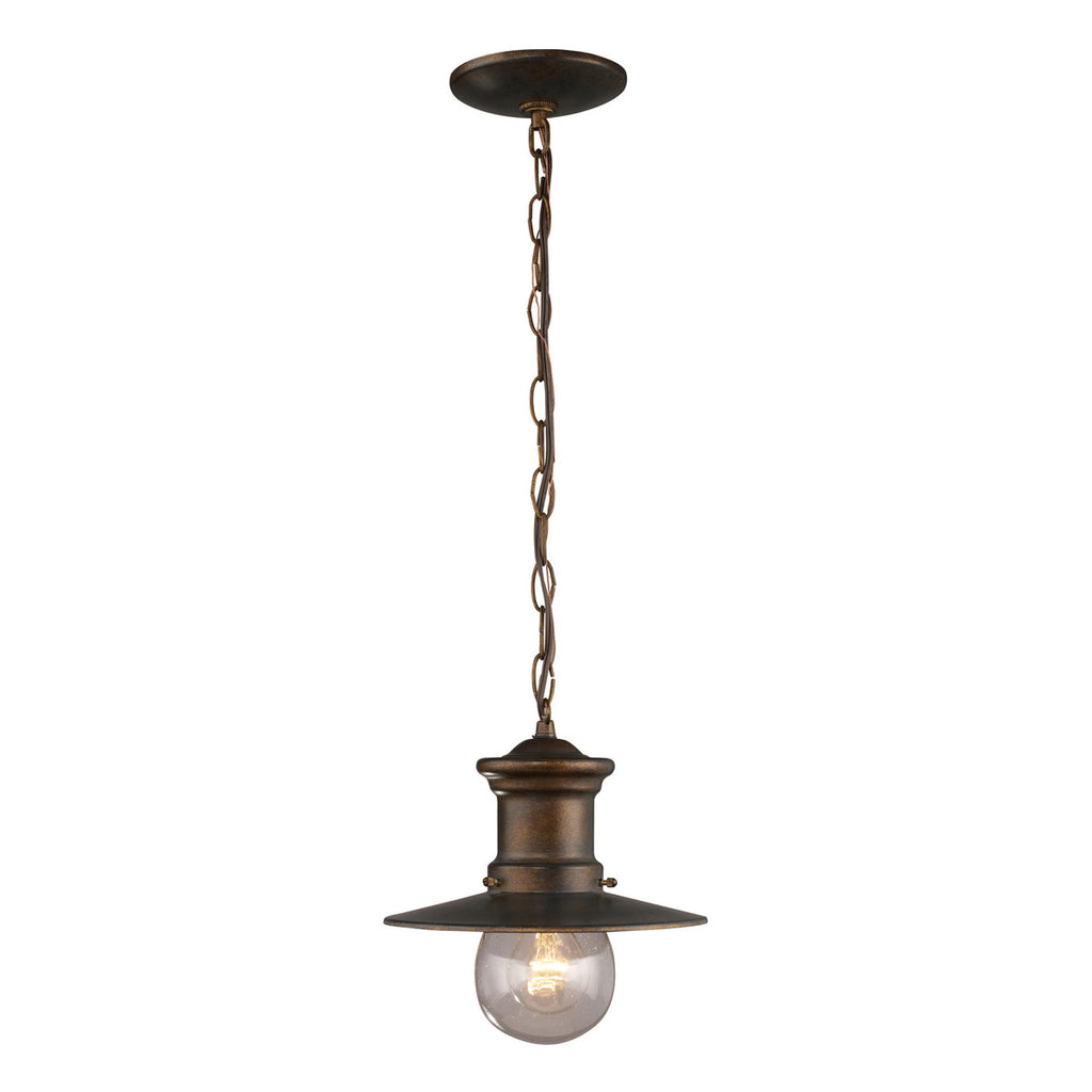 Maritime 1-Light Outdoor Pendant in Hazelnut Bronze and Clear Seeded Glass